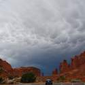 Storm clouds above Arches (taken from a car on the way home)