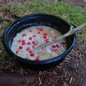 Yep, I forgot my spoon on this trip. Red berries are huckleberries I picked in my camp