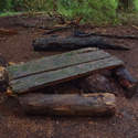 Whats left of the famous picnic table on the 415 trail campsite....
