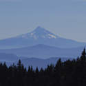 Mt. Hood from viewpoint above Lake Wapiki
