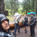 Rainy Lake camping area, I look like a stick figure or something...