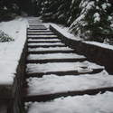 snowy steps to Sherard Point